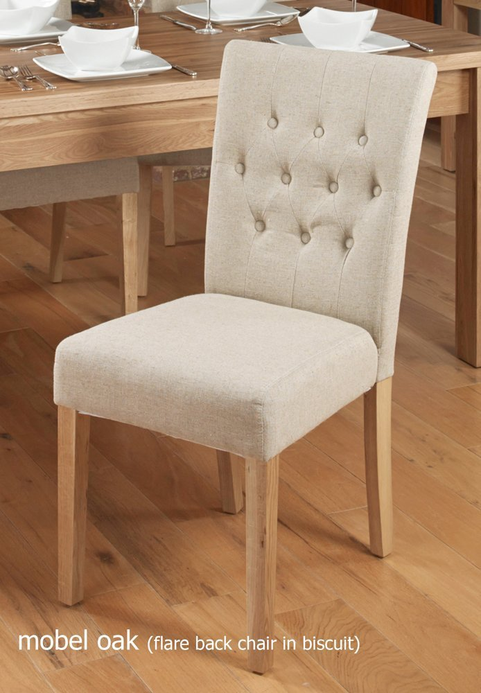 Baumhaus Oak Flare Back Upholstered Dining Chair Biscuit