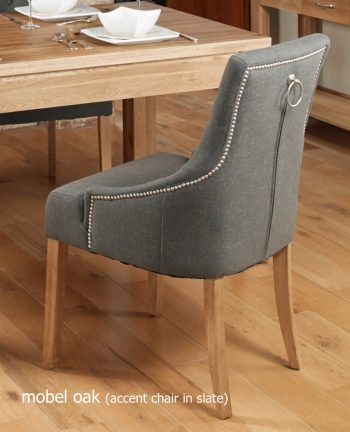 baumhaus oak accent upholstered dining chair slate pack of two