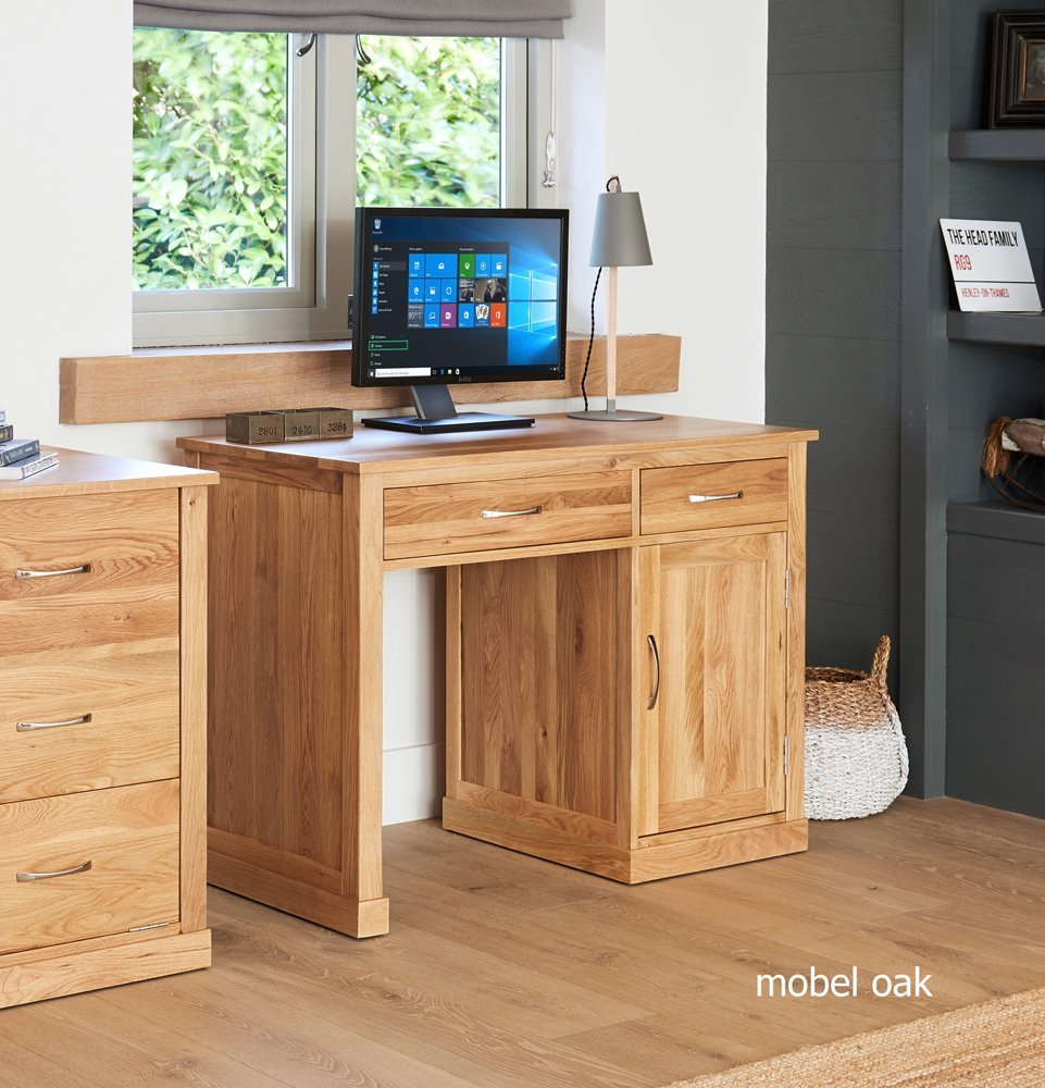 Baumhaus Mobel Oak Single Pedestal Computer Desk Casamo