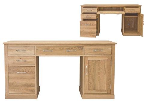 home other rooms home office furniture baumhaus mobel oak twin pedestal computer desk