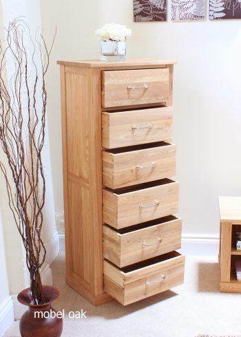 baumhaus mobel oak tallboy 6 drawer