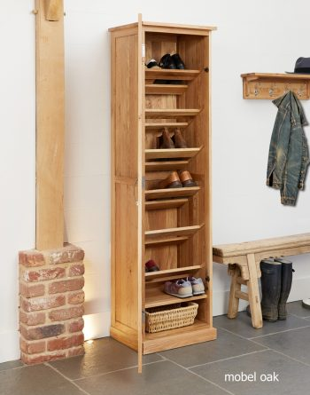 baumhaus mobel oak tall shoe cupboard