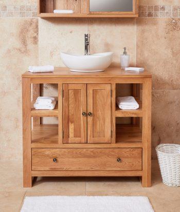 baumhaus mobel oak solid two door single sink unit round